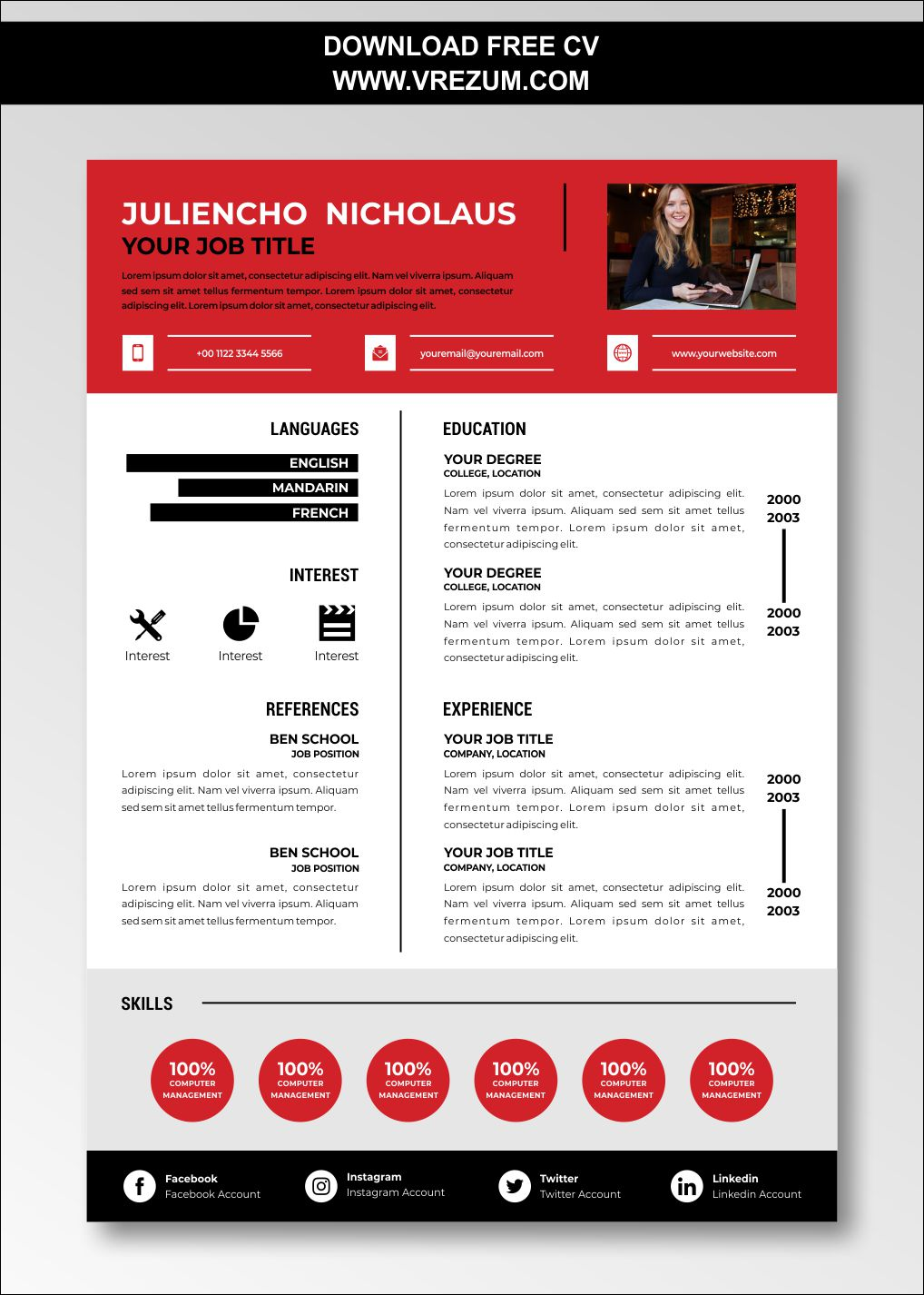 FREE CV Templates for Store Keepers in 2020 Cv template